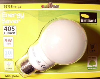 Brilliant ESL Energysaver 9Watt 405Lumen E27 2700K Warmweiss Miniglobe D66mm H118mm